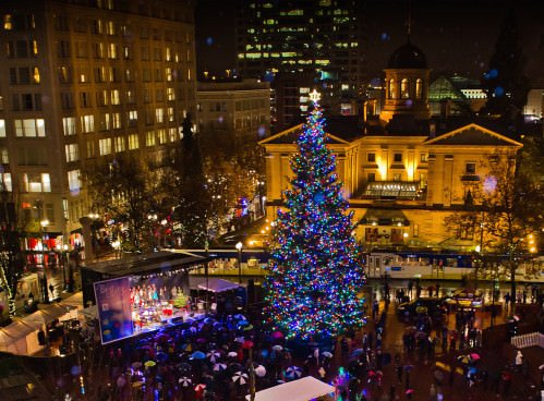 the day after thanksgiving thousands of portlanders will gather at the square to celebrate the lighting of the spectacular 75ft douglas fir tree provided