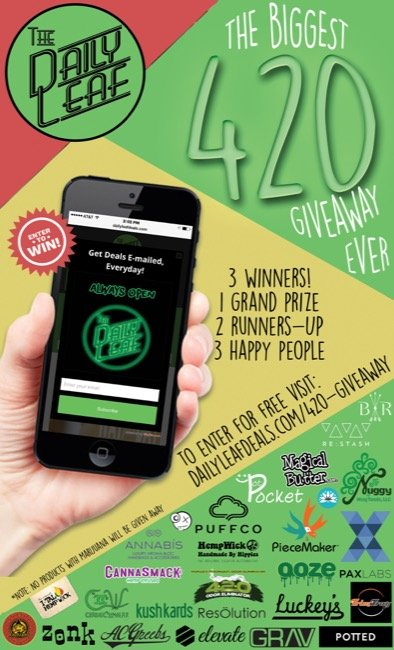 This 420, The Daily Leaf is teaming up with high class brands (like PAX, Magical Butter Machine, Puff Co, Grav, Kung Fu Vapes, Annabis, Kush Kards, Piece Maker, Re-Stash, The Nuggy & MORE) to bring you a FREE GIVEAWAY like none other.