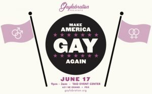 June 17 @ Tao Event Center - Pride Northwest announces the seventh annual Gaylabration, a dance party and fundraiser and official Pride Festival event to be held Saturday June 17th, 2017 to celebrate the diversity of love and relationships in our community.