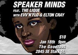 Speaker Minds//The Lique//evv'n'flo at The Goodfoot