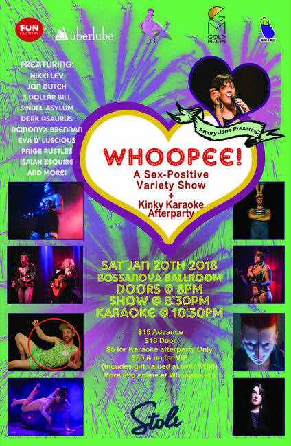 A Sex-Positive Variety Show + Kinky Karaoke Afterparty January 20 2018. Doors 8pm Show 830 | $15+ | 21+. Karaoke 1030pm \u2013 free for attendees ...  sc 1 st  PDX Pipeline & Win Tickets ($30): Whoopee! A Sex-Positive Variety Show + Kinky ...