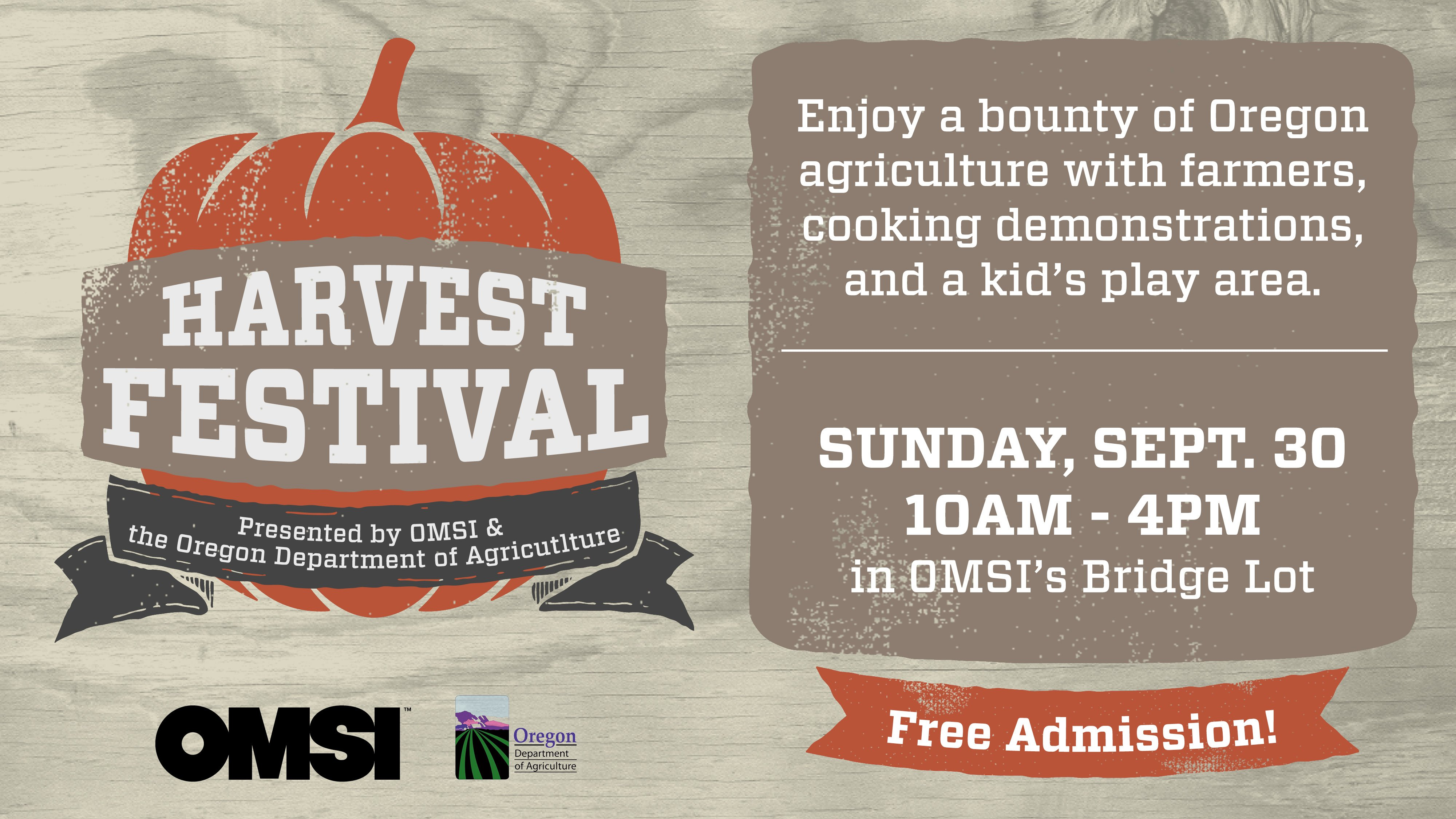 2018 omsi harvest festival | free, fall bounty, beer tent, cooking