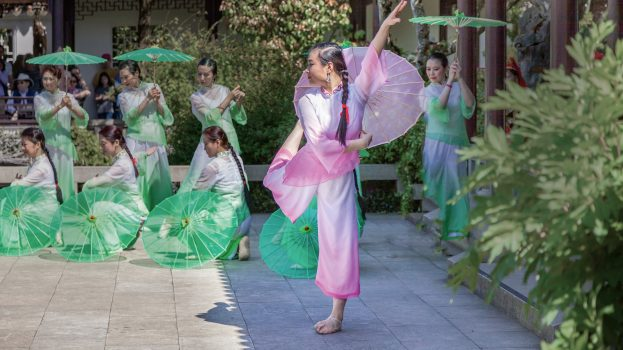 The Portland Chinese Dance Troupe performs at the Autumn Moon Festival at Lan Su Chinese Garden.