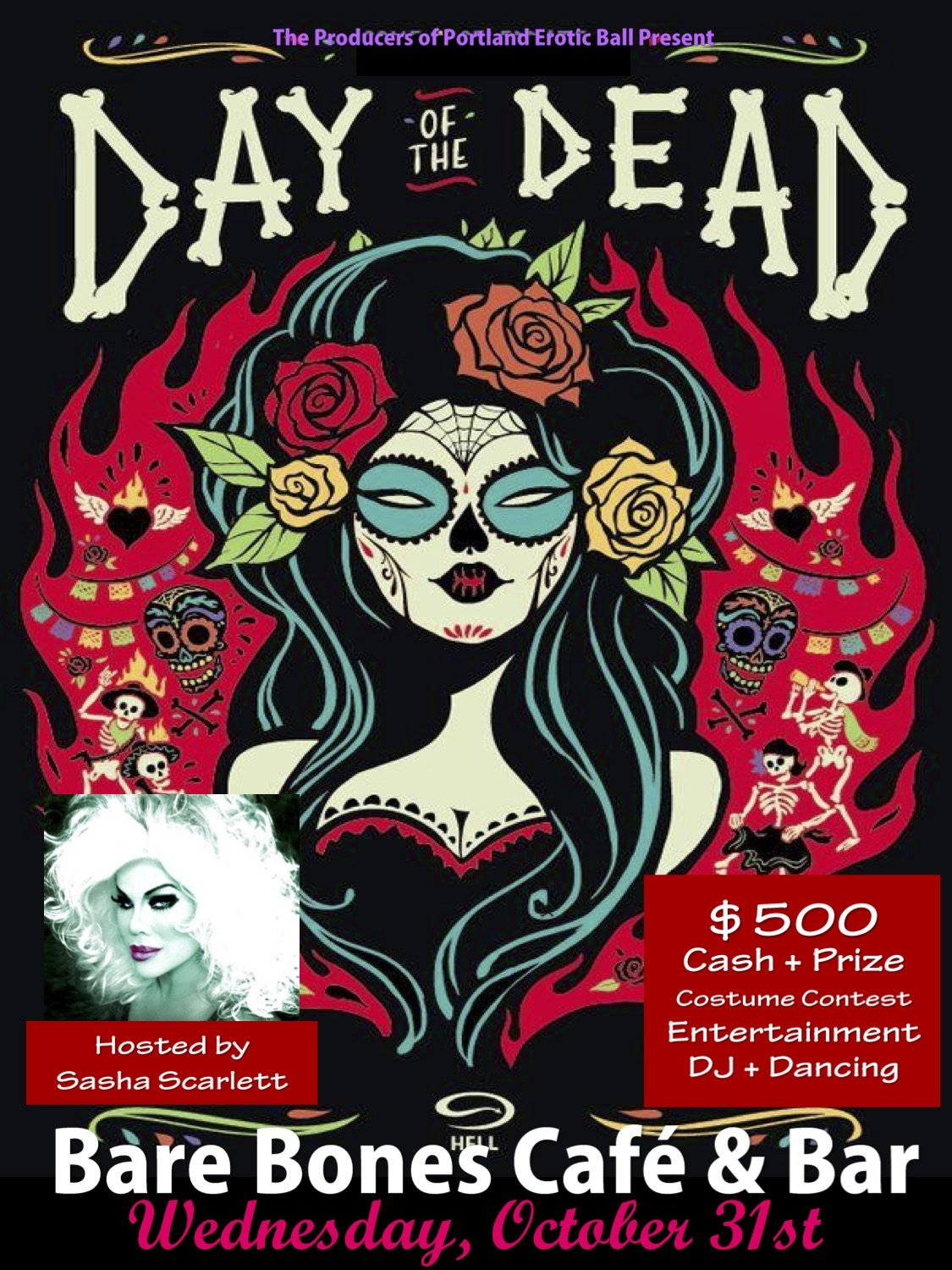 portland 2018 halloween / day of the dead party @ bare bones | free