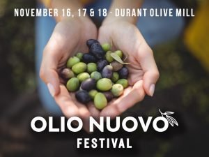 November 16-18 @ Durant Olive MilL - Your first chance to taste and purchase this season's fresh, unfiltered extra virgin olive oil from Durant Olive Mill (formerly Oregon Olive Mill). Fresh Olio Nuovo is paired with complimentary seasonal appetizers and Durant Vineyards estate wine.