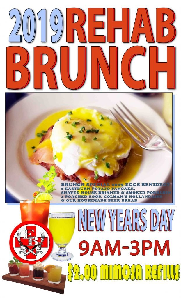 2019 New Year's Day Rehab Brunch! @ EastBurn | $2 Mimosa Refills, Beer Bread, Potato Pancakes
