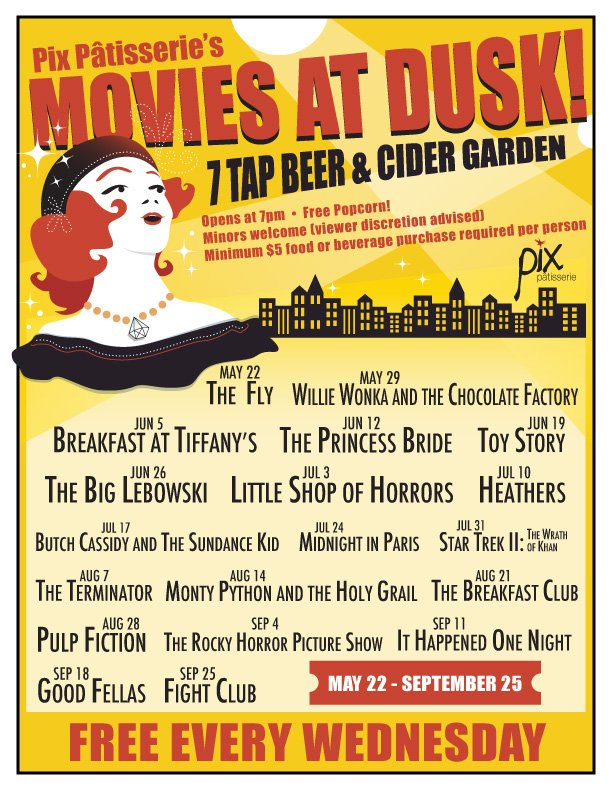 August 21 @ Pix Patisserie - Each Wednesday at dusk (approximately 8-8:30PM depending on the week) Pix will be showing a classic movie in our outdoor courtyard.